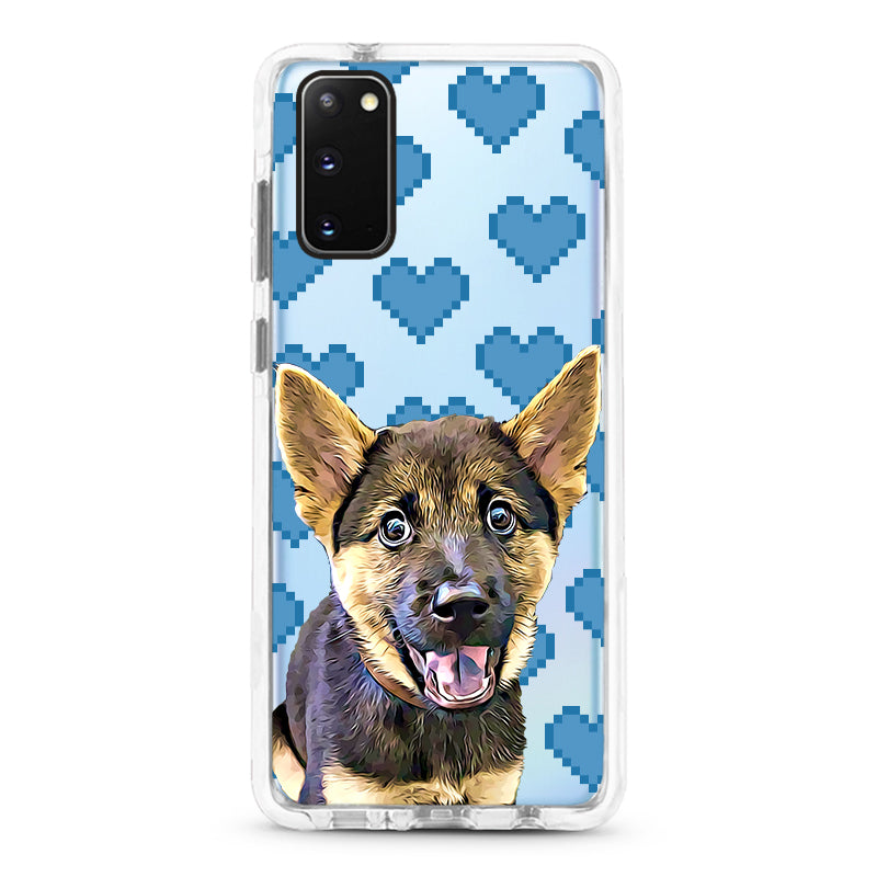 Samsung Ultra-Aseismic Case - Blue Pixel Hearts