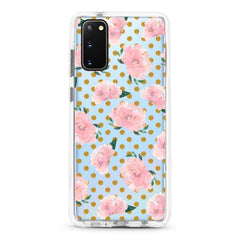 Samsung Ultra-Aseismic Case - Pink Rose in Gold Dot background