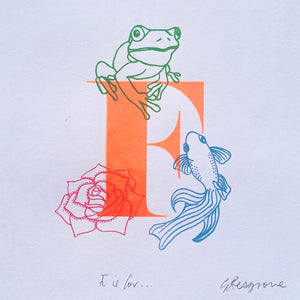 Letter F (orange) original artwork