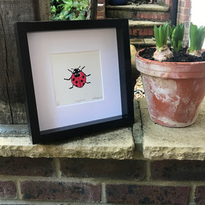 handprinted screen print of a Ladybird available for purchase