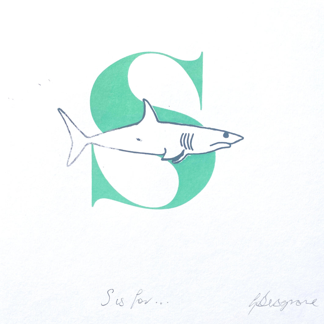 Letter S (green) original artwork