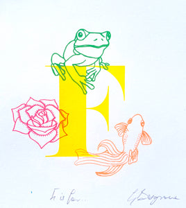Letter F (yellow) original artwork