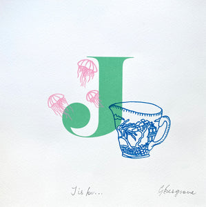 Letter J original artwork
