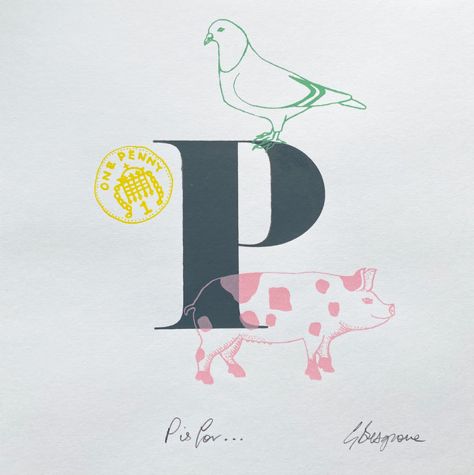 Letter P original artwork