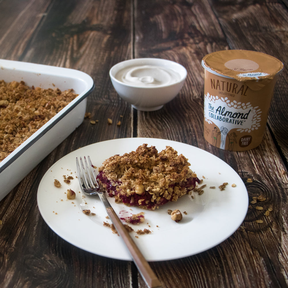Vegan Blackberry and Hazelnut Apple Crumble