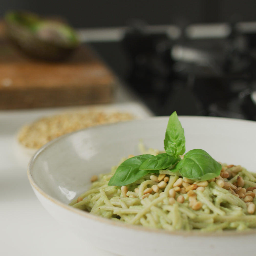 Spaghetti Pesto with Almond Yogurt