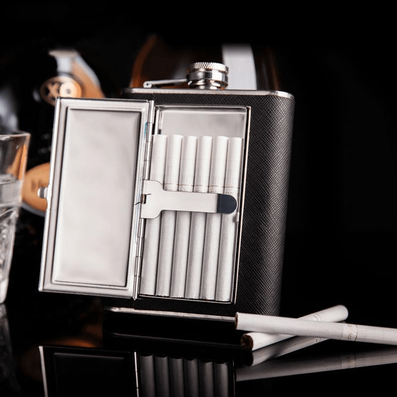 Cigarette Leather Hip Flask