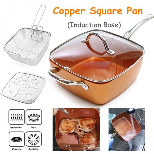 CHEFPAN™ Copper Square Non Stick Frying Pan with Ceramic Coating and Induction (9.5 Inches)