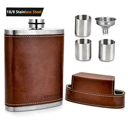 Pocket Stash Flask with Leather Cover and Funnel