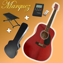 Marquez MD100 RED Acoustic Guitar Pack (Hard Case + Tuner + Picks + Foot Stool!)