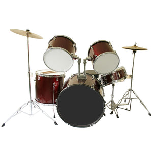 Marquez 5 Piece Drum Kit with Cymbals & Stool - Red