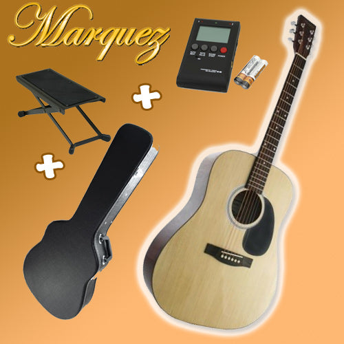 Marquez MD100 Natural Finish Acoustic Guitar Pack (Hard Case + Tuner + Picks + Foot Stool!)