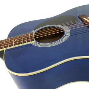 MD100 Steel String Acoustic Guitar, Blue + Hard Case Bundle
