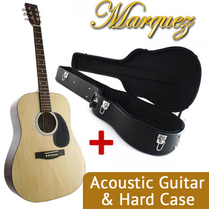MD150 Steel String Acoustic Guitar, Natural + Hard Case Bundle