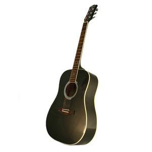 MD100 Steel String Acoustic Guitar, Black + Hard Case Bundle