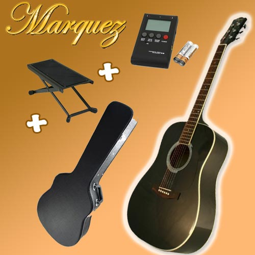 Marquez MD100 Black Acoustic Guitar Pack (Hard Case + Tuner + Picks + Foot Stool!)