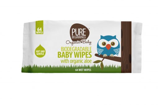 Biodegradable Baby Wipes with Organic Aloe 64 wipes [Pure Beginnings]