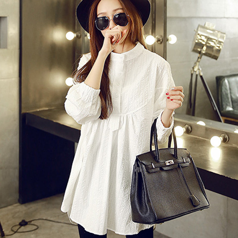 A17  فستان حمل قصير  Maternity Clothing Spring And Autumn Stand Collar Long-Sleeve Pressure Pleated One-Piece Basic Shirt Cotton