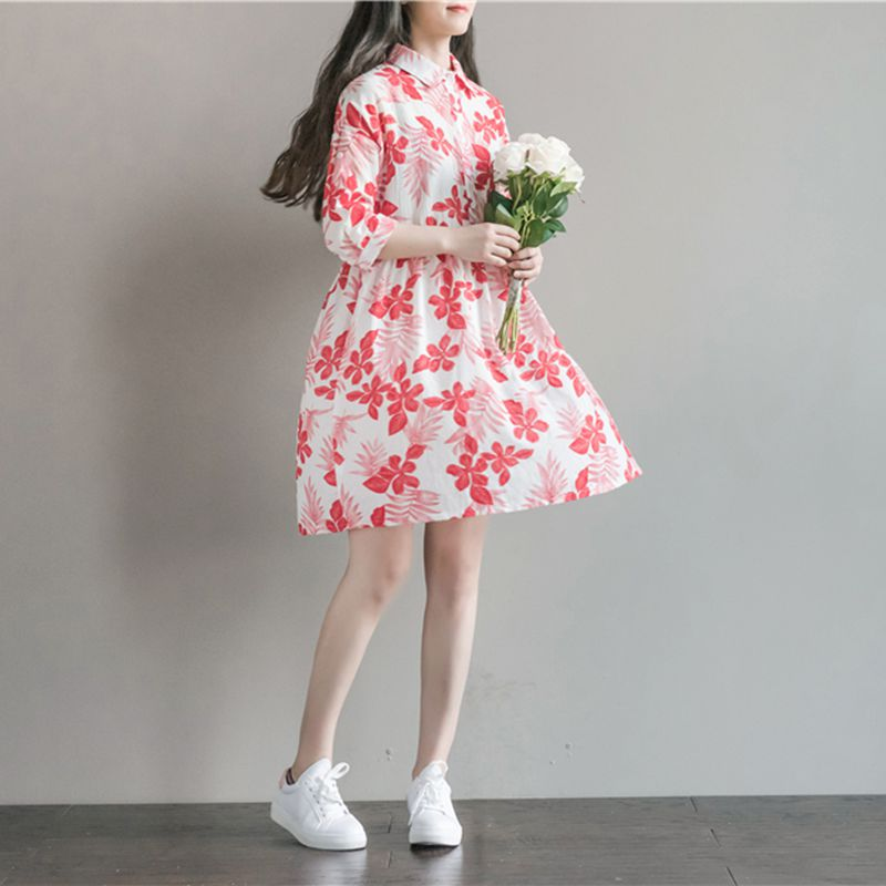 A19  فستان حمل قصير  Maternity Dresses Print for Pregnant Women Summer Autumn Maternity Clothing