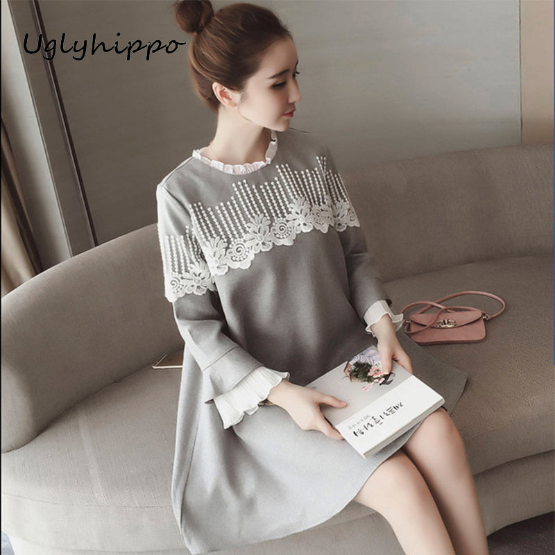 A17  فستان حمل قصير  New Full Sleeve Lace Dress for Pregnant Women