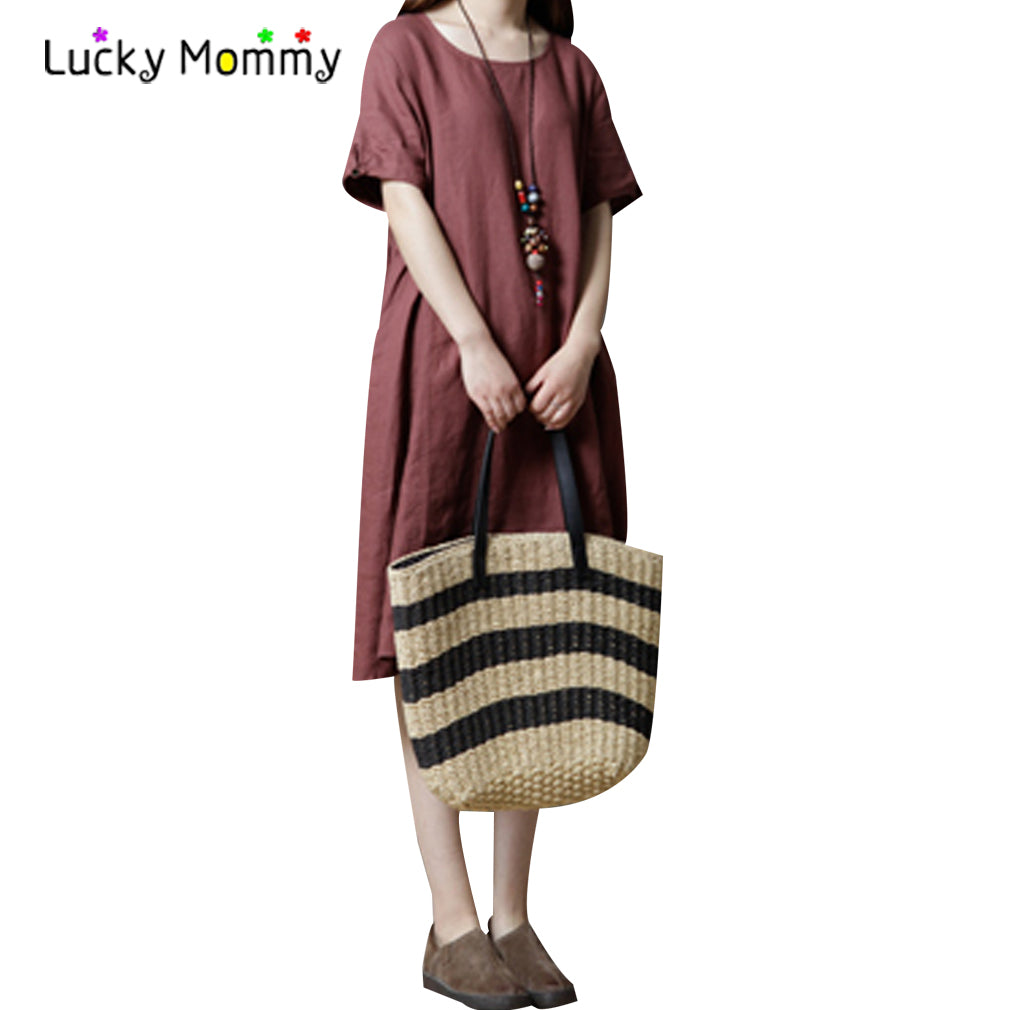 B20 فستان حمل ميدي   Summer Linen Maternity Dress for Pregnant Women Loose Dress