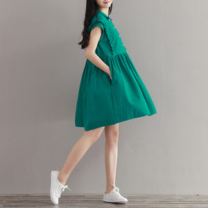 A16  فستان حمل قصير  Summer Maternity Dresses Clothes Pregnancy Wear Casual Linen Green dress For Pregnant Women