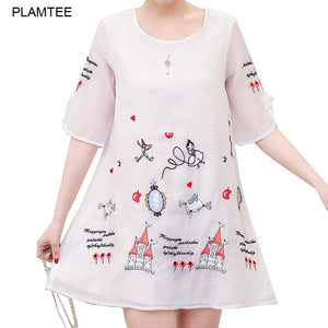 A18  فستان حمل قصير Cartoon Embroidery A Line Elegant New Summer Maternity Dresses for Pregnant Women Robe