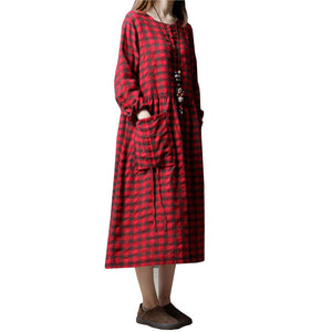 B16  فستان حمل ميدي Cotton Plaid Maternity Dress For Pregnant Women Loose Long Sleeve