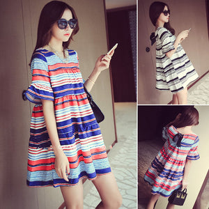 A19  فستان حمل قصير  Cotton Striped Dresses Maternity Clothes For Pregnant Women Elegant Ladies Summer Wear Plus Size Fashion
