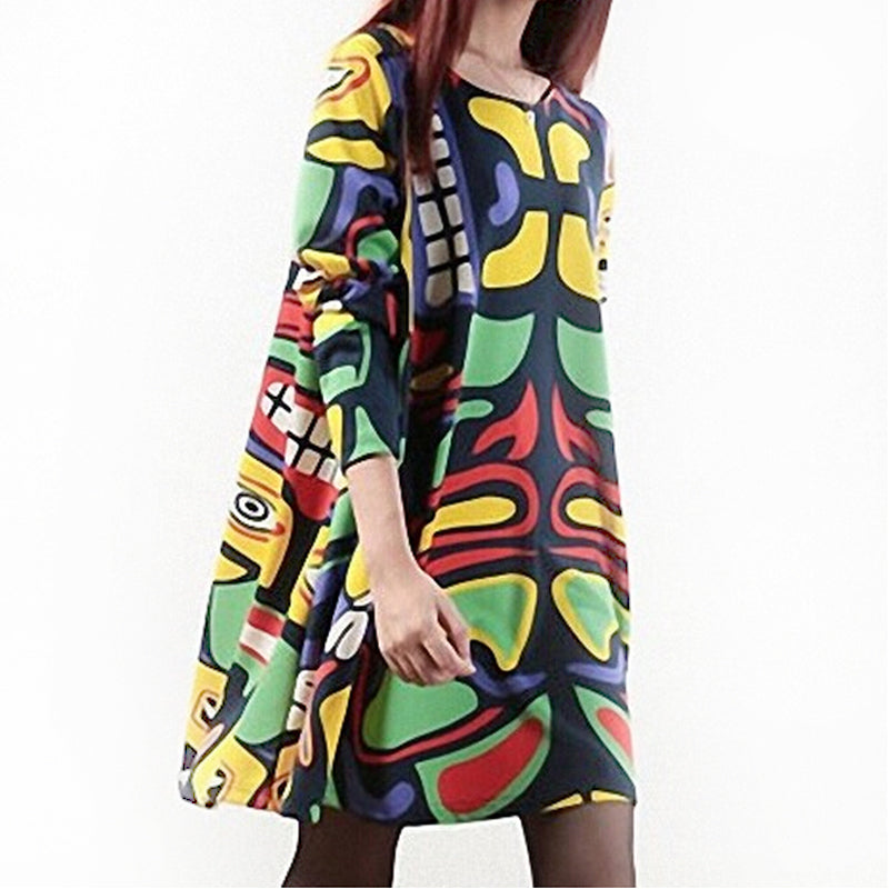 A16  فستان حمل قصير  Printed Pregnancy Clothes Women Dress Loose Graffiti. Autumn Winter Clothes For Pregnant Women