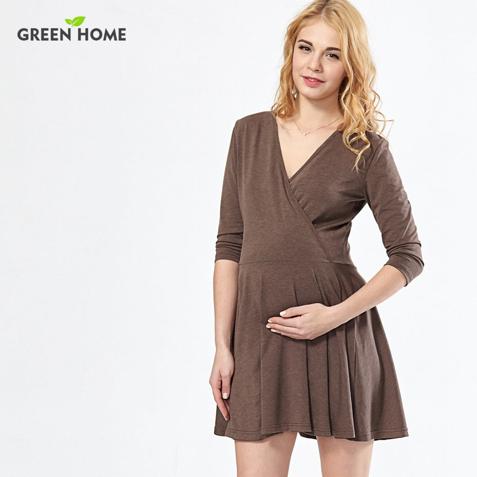A19  فستان حمل قصير  Maternity Clothing Ruffle Summer Breastfeeding for Pregnant Woman Feeding Dress