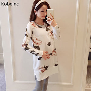 A19  فستان حمل قصير  New Clothes For Pregnant Women Autumn Winter Plus Cashmere Thick Maternity Dresses