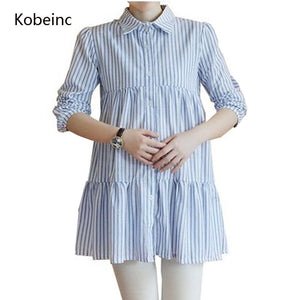 A18  فستان حمل قصير  Maternity Dress Blouse Autumn Long Sleeves Vestido For Pregnant Women A-Line Striped Roupas