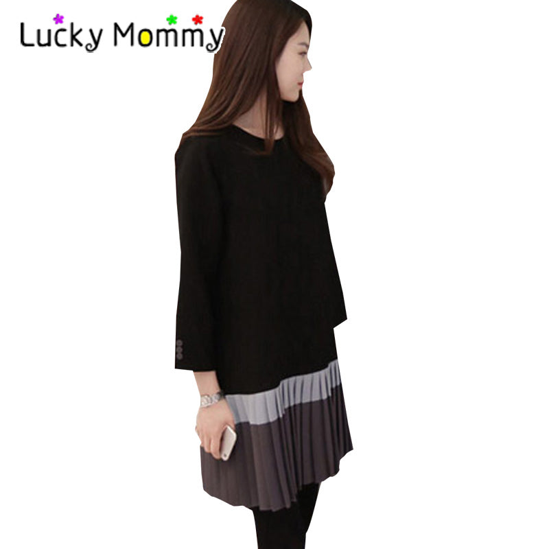 A20  فستان حمل قصير  Korean Fashion Stitching Maternity Dress Autumn Winter Elegant Long Sleeve Pregnancy Clothing
