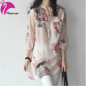 A17  فستان حمل قصير  Summer Maternity Shirts Dresses Linen Cotton Print Tops For Pregnant Women  Plus Size