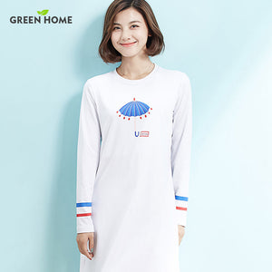 A19  فستان حمل قصير  Maternity Dress Long Sleeve nursing Brief White Printing Dress for Pregnancy Clothes