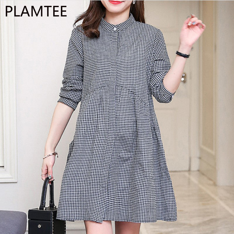 A18  فستان حمل قصير Elegant Maternity Dresses Plaid Clothes For Pregnant Women O-neck Pregnancy Clothing Autumn Loose Tops