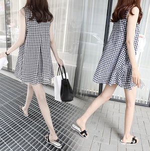 A17  فستان حمل قصير  Summer new style office ladies dress black color stripe women's dress