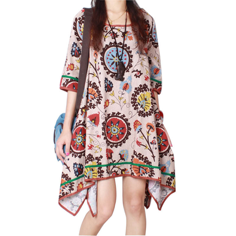 A17  فستان حمل قصير  Women's Aztec Patterned Cotton and linen Oversized Shirt Dress Long Tunic maternity dresses for Pregnant woman