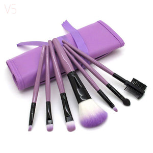 Professional 7 PCS Makeup Brushes عدد 7 فرش ماكياج  ومحفظة - She Chic