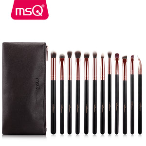 MSQ 12pcs Eyeshadow Makeup Brushes Set Pro Rose Gold Eye Shadow Blending Make Up Brushes Soft Synthetic Hair For Beauty - She Chic