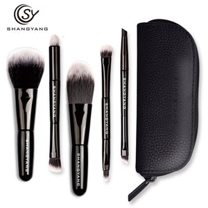 sy Brand 5Pcs Studio Makeup Brushes Synthetic Natural Hair Conveniently Portable Mini Make Up Brush Set A8-15 - She Chic