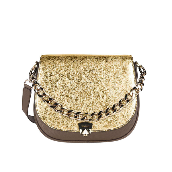 Tasche Best Buddy in taupe mit goldener Wechselklappe Night Out und Pimp Up-Kette in gold