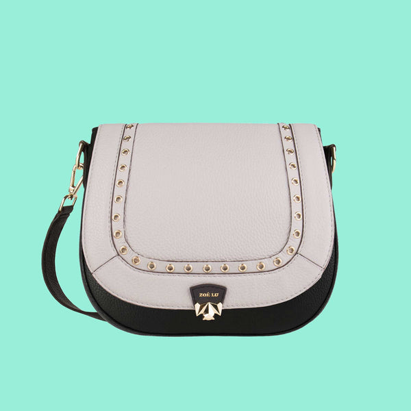 Tasche mit austauschbarer Klappe Count on me in light grey