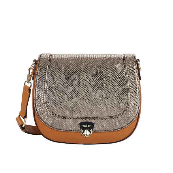 Taschenkörper Best Buddy in cognac mit Wechselklappe Moonlight Drive in dark silver metallic