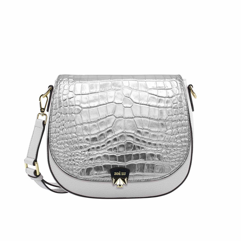 Changeable flap - Croco Crack - silver