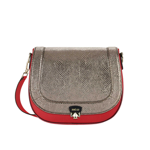 Taschenkörper Best Buddy in rot mit Wechselklappe Moonlight Drive in dark silver metallic