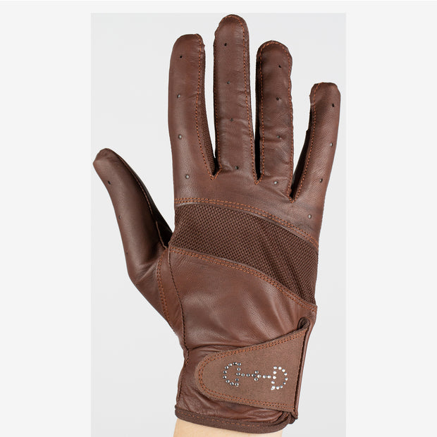 Women's Leather Mesh Gloves - Brown
