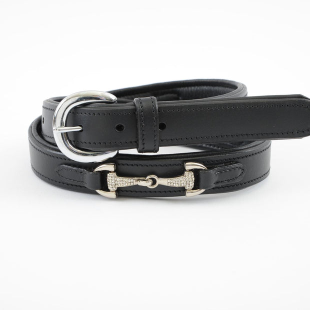 Crystal Bit Leather Belt
