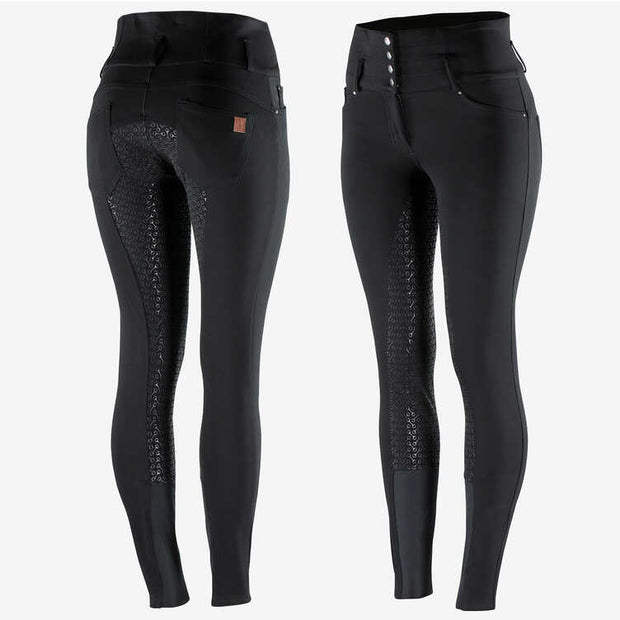 Tara Women's High-Waist Silicone FS Breeches - Black